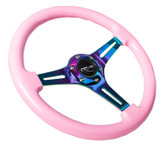 NRG Classic Wood Grain Wheel, 350mm, Pink colored wood, 3 spoke center in Neochrome