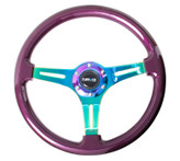 ST-015MC-PP Classic Wood Grain Wheel, 350mm, Purple colored wood, 3 spoke center in Neochrome