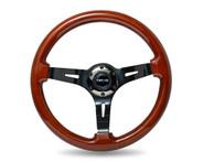 """ST-055BR-BK Classic Dark Wood Grain Wheel (3"""" Deep), 350mm, 3 spoke center in Black Chrome"""