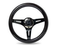ST-310BK-BK Classic Black Wood Grain Wheel, 310mm, 3 spoke center in Black Chrome