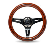 ST-310BRB-BK Classic Dark Wood Grain Wheel, Black line inlay, 310mm, 3 spoke center in Black Chrome