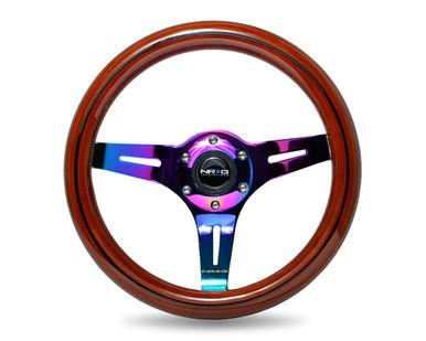 ST-310BRB-MC Classic Dark Wood Grain Wheel, Black line inlay, 310mm, 3 spoke center in Neochrome