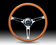Classic Wood Grain Wheel, 360mm, 3 spoke center in chrome
