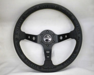 Vertex KING 330mm Black Leather Gold Stitch Steering Wheel