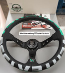 Vertex 1996 350mm Black Leather Green and White Stitch Steering Wheel