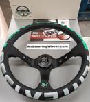 Vertex 1996 350mm Black Leather Green and White Stitch Steering Wheel
