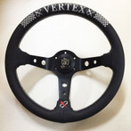Vertex CHECKER 330mm Black Leather White Stitch Steering Wheel