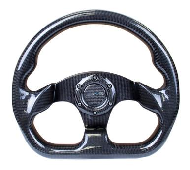 NRG 320mm Flat Bottom Shiny Full Carbon Fiber Steering Wheel