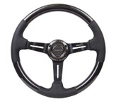 NRG 350mm Shiny Carbon Fiber with Black Leather Steering Wheel