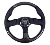 NRG 315mm Carbon Fiber Black Leather Steering Wheel