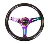NRG Classic Black Sparkle Wood Grain Wheel 350mm Neochrome 3 spoke center