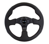 NRG 320mm Sport Black Leather Steering Wheel w/ Black stitch