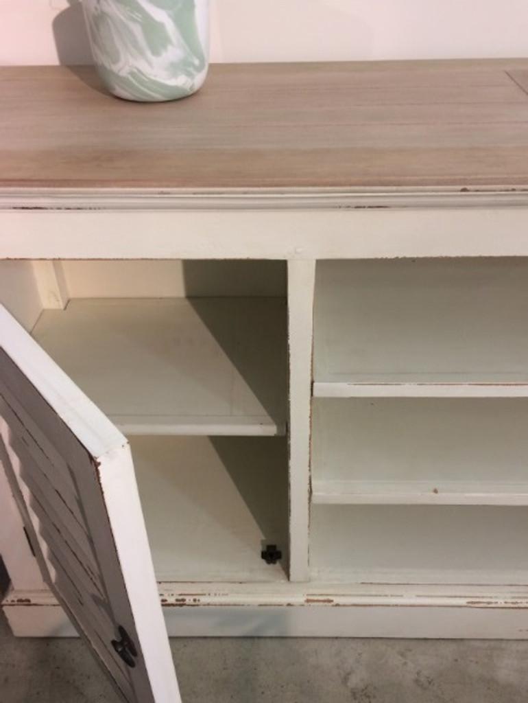 Shutter Plasma TV Stand - Oak White Heavy Distressed /LAO