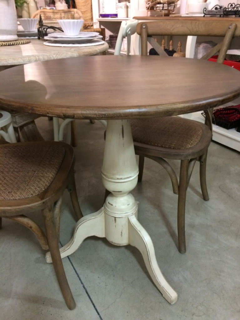 Paris Cafe Table - Antique Cream Heavy Distressed /ATO