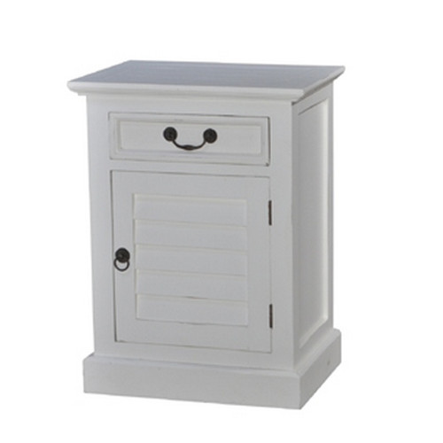 Shutter Bedside Cabinet Small - Architectural White Light Distressed