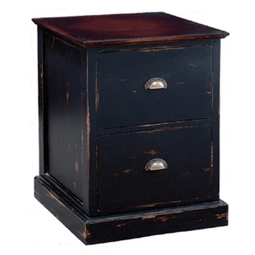 Emerson 2 Drawer Filing Cabinet - Black Heavy Distressed /ACL