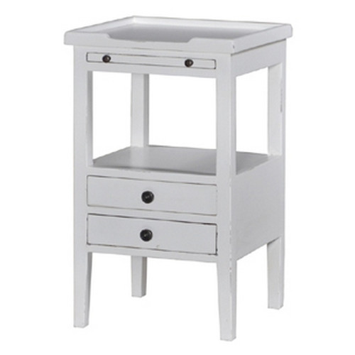 Eton 2 Drawer Side Table w/ Pull-out Shelf - Size: 69H x 42W x 32D (cm)