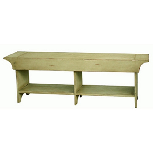 Farmhouse Bench Small - Moss Green Heavy Distressed