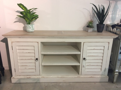 Shutter Plasma TV Stand - Oak White Heavy Distressed /LAO