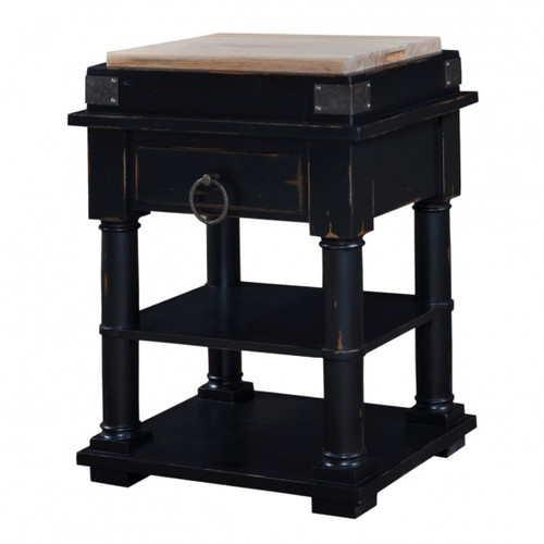 Cortland Kitchen Island on Coasters - Black Heavy Distressed