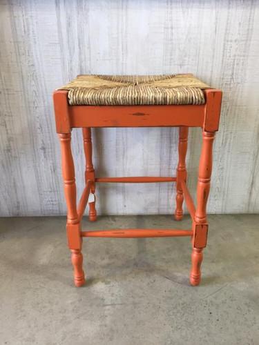 Veranda Counter Stool - Orange Heavy Distressed