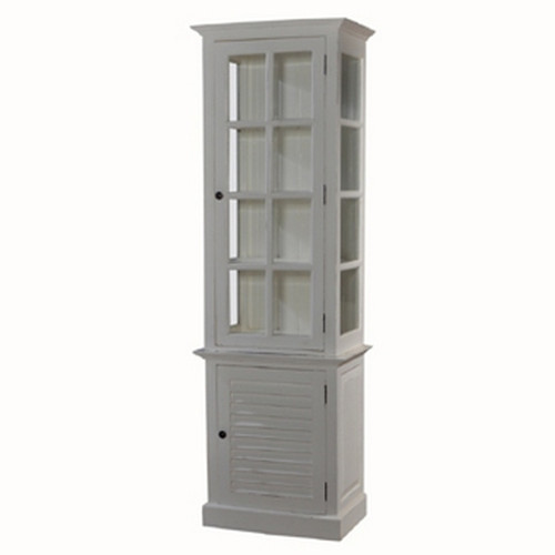 Cottage Tall Cabinet w/ Glass - Architectural White Light Distressed