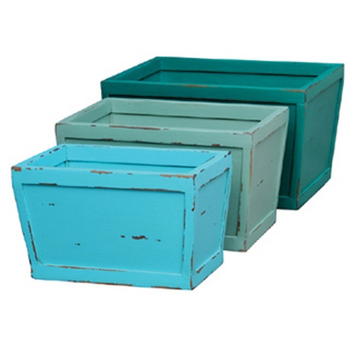 Hancock Industrial Crates Set/3 - Pistachio/Marine Blue/Sky Blue