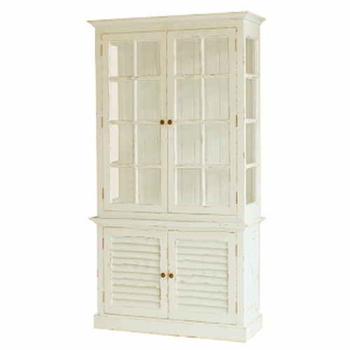 2 Door Cottage Cabinet with Glass - Architectural White Light Distressed