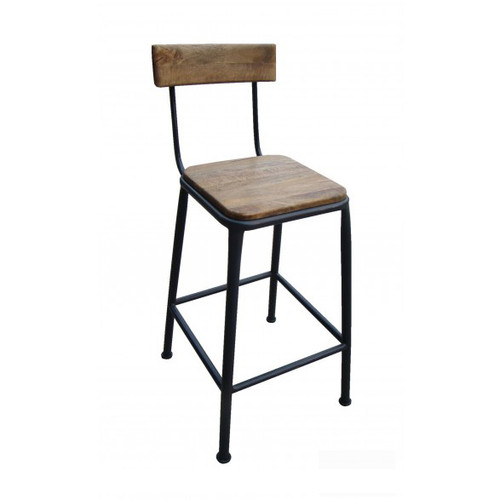 Industrial Breakfast Stool with Back - Rusty