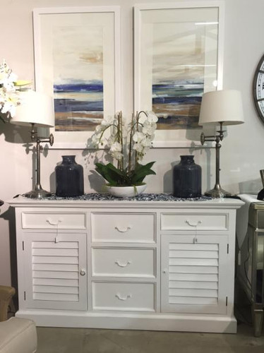 Shutter Sideboard w/ 5 Drawers - Architectural White Light Distressed