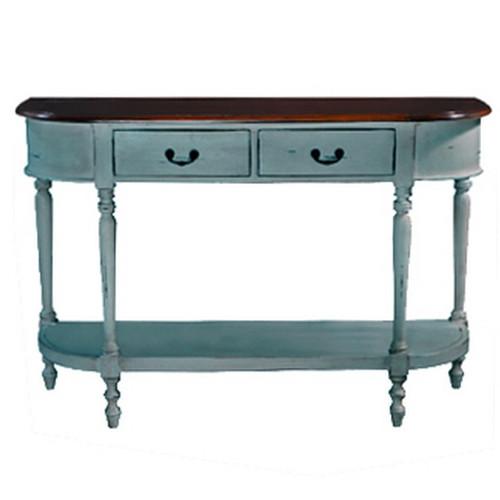 Tucker Oval Sofa Table Large - Cadet Blue Heavy Distressed /AHM
