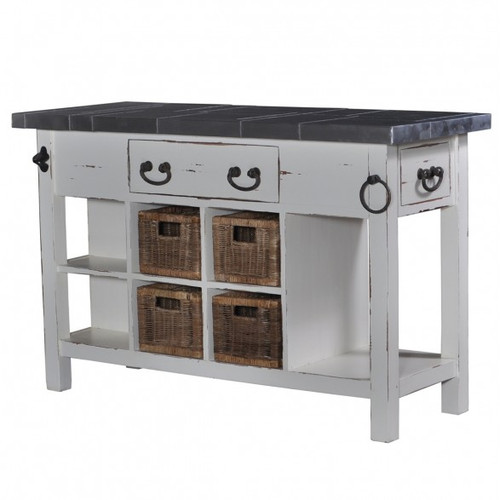 Umbria Kitchen Island small - White Heavy Distressed /TAN
