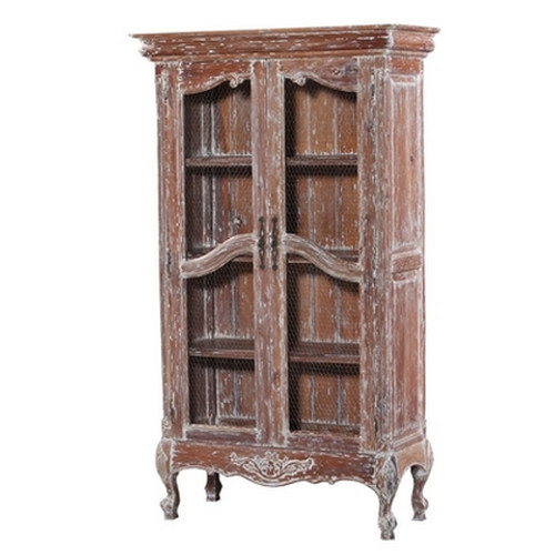 Chateau Linen Cupboard w/ Chicken wire Door - White Heavy Distressed /FDT