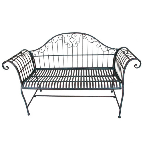 Rene Wrought Iron Bench Seat - Cream