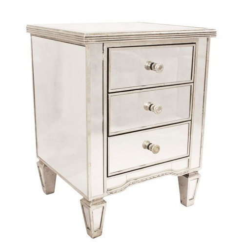 Antique Mirrored 3 Drawer Bedside