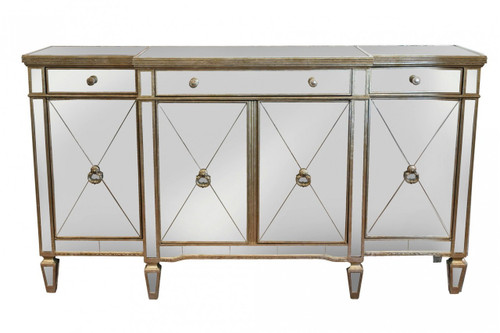 Antique Mirrored 4 Door Buffet