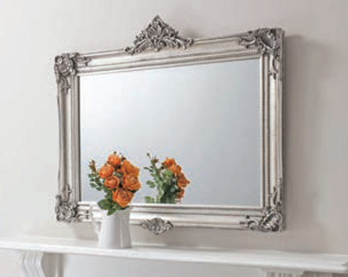 Abbey Over Mantel Mirror Silver 43.5x37""