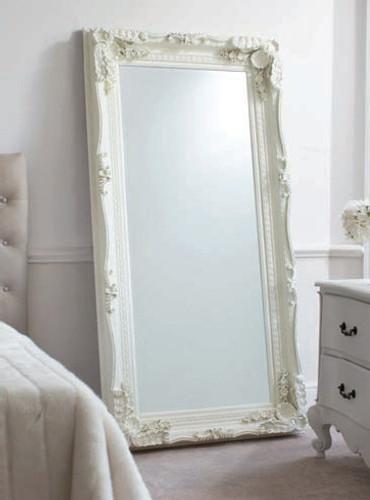 "Carved Louis Leaner Mirror Cream 69x35.5"""