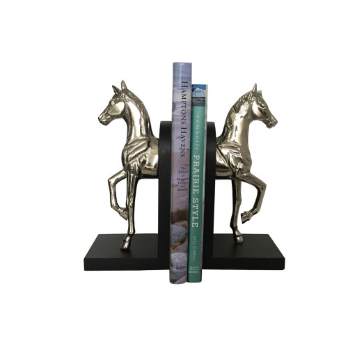 Horse Bookends - Nickel with Black Base