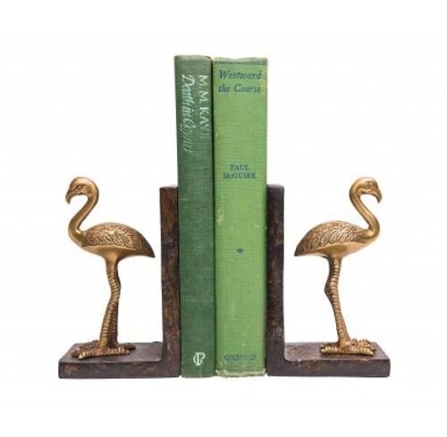 Flamingo Brass Bookends