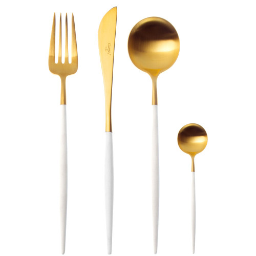 Goa 24 Piece Cutlery Set - Brushed Gold White Handle