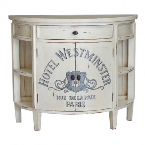 Cocktail Console Narrow - Antique Cream Heavy Distressed /A253
