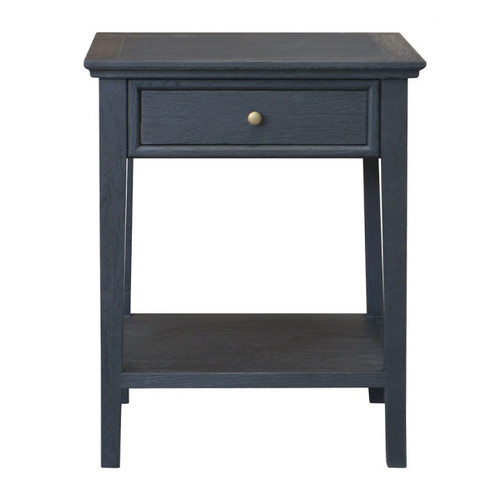 Alton 1 Drawer Bedside - Black Oak Drifted