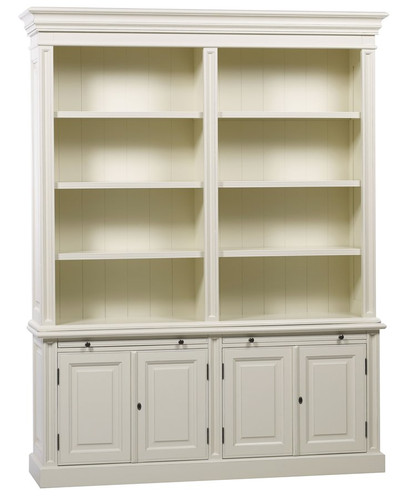 Classic 4 Door Bookcase - Antique White