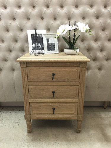 Versailles 3 Drawer Bedside - Weathered Oak