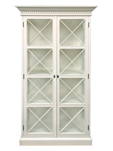French Cross Display Cabinet 2 Door - Antique White