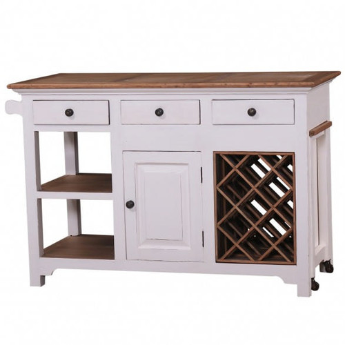 Napa Kitchen Island - White Light Distressed /DRW