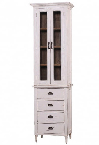 Jefferson Tall Bath Cabinet - Pearl White Heavy Distressed /DRW