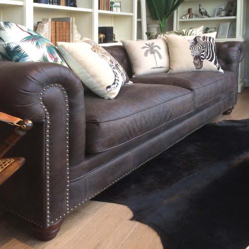 Havana Chesterfield 3 Seat Leather Sofa