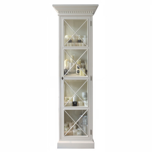 French Cross Display Cabinet 1 Door - Antique White